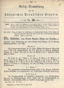 Gesetz-Sammlung für die Königlichen Preussischen Staaten, 21. Juli 1892, nr. 20.
