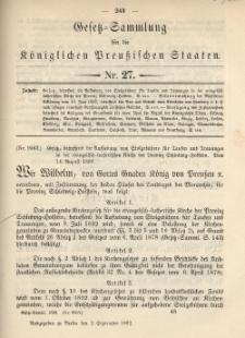 Gesetz-Sammlung für die Königlichen Preussischen Staaten, 2. September 1892, nr. 27.