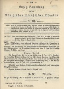 Gesetz-Sammlung für die Königlichen Preussischen Staaten, 5. Oktober 1892, nr. 31.