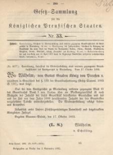 Gesetz-Sammlung für die Königlichen Preussischen Staaten, 1. November 1892, nr. 33.