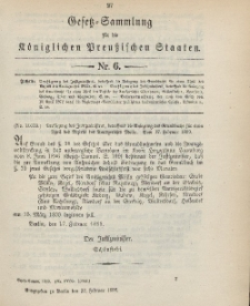 Gesetz-Sammlung für die Königlichen Preussischen Staaten, 27. Februar 1899, nr. 6.