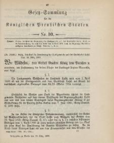 Gesetz-Sammlung für die Königlichen Preussischen Staaten, 29. März 1899, nr. 10.