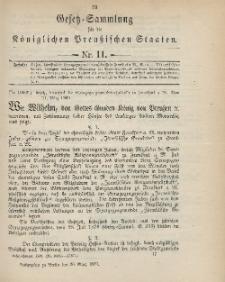 Gesetz-Sammlung für die Königlichen Preussischen Staaten, 30. März 1899, nr. 11.