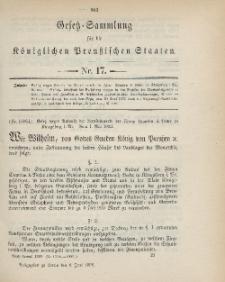 Gesetz-Sammlung für die Königlichen Preussischen Staaten, 6. Juni 1899, nr. 17.