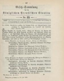 Gesetz-Sammlung für die Königlichen Preussischen Staaten, 25. Juli 1899, nr. 22.
