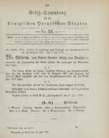 Gesetz-Sammlung für die Königlichen Preussischen Staaten, 28. Juli 1899, nr. 23.