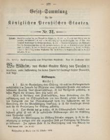 Gesetz-Sammlung für die Königlichen Preussischen Staaten, 10. Oktober 1899, nr. 31.