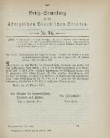 Gesetz-Sammlung für die Königlichen Preussischen Staaten, 18. Oktober 1899, nr. 34.
