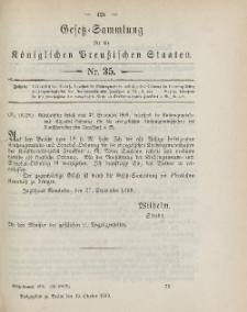 Gesetz-Sammlung für die Königlichen Preussischen Staaten, 19. Oktober 1899, nr. 35.