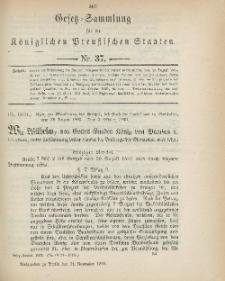 Gesetz-Sammlung für die Königlichen Preussischen Staaten, 14. November 1899, nr. 37.