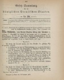 Gesetz-Sammlung für die Königlichen Preussischen Staaten, 18. November 1899, nr. 38.
