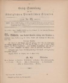 Gesetz-Sammlung für die Königlichen Preussischen Staaten, 25. April 1902, nr. 12.