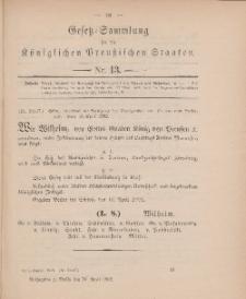 Gesetz-Sammlung für die Königlichen Preussischen Staaten, 30. April 1902, nr. 13.