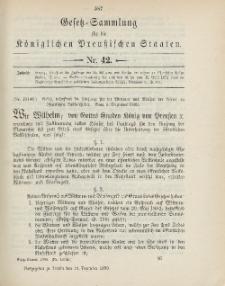 Gesetz-Sammlung für die Königlichen Preussischen Staaten, 19. Dezember 1899, nr. 42.