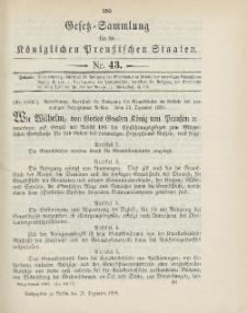Gesetz-Sammlung für die Königlichen Preussischen Staaten, 21. Dezember 1899, nr. 43.
