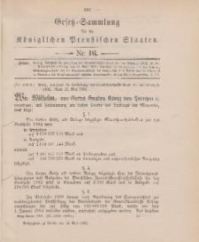 Gesetz-Sammlung für die Königlichen Preussischen Staaten, 13. Mai 1902, nr. 16.