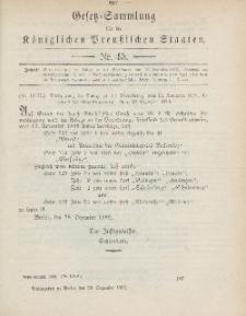 Gesetz-Sammlung für die Königlichen Preussischen Staaten, 29. Dezember 1899, nr. 45.