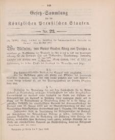 Gesetz-Sammlung für die Königlichen Preussischen Staaten, 7. Juni 1902, nr. 22.