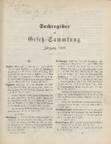 Gesetz-Sammlung für die Königlichen Preussischen Staaten (Sachregister), 1899
