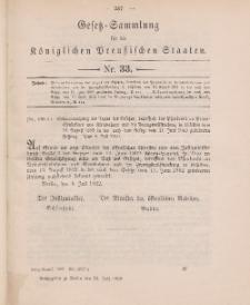 Gesetz-Sammlung für die Königlichen Preussischen Staaten, 22. Juli 1902, nr. 33.