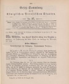 Gesetz-Sammlung für die Königlichen Preussischen Staaten, 26. August 1902, nr. 37.