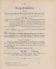 Gesetz-Sammlung für die Königlichen Preussischen Staaten, 17. September 1902, nr. 41.