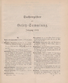 Gesetz-Sammlung für die Königlichen Preussischen Staaten (Sachregister), 1902