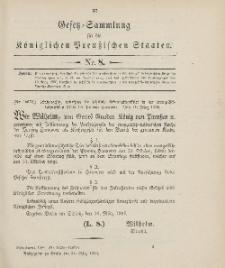 Gesetz-Sammlung für die Königlichen Preussischen Staaten, 24. März 1906, nr. 8.