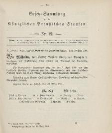 Gesetz-Sammlung für die Königlichen Preussischen Staaten, 31. März 1906, nr. 12.