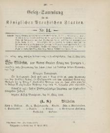 Gesetz-Sammlung für die Königlichen Preussischen Staaten, 11. April 1906, nr. 14.
