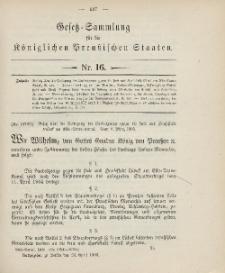 Gesetz-Sammlung für die Königlichen Preussischen Staaten, 20. April 1906, nr. 16.