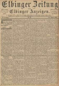 Elbinger Zeitung und Elbinger Anzeigen, Nr. 92 Donnerstag 21. April 1887