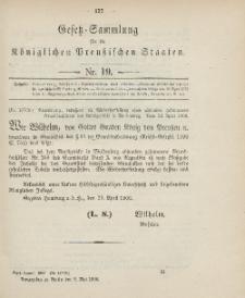 Gesetz-Sammlung für die Königlichen Preussischen Staaten, 3. Mai 1906, nr. 19.