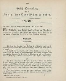 Gesetz-Sammlung für die Königlichen Preussischen Staaten, 7. Mai 1906, nr. 20.