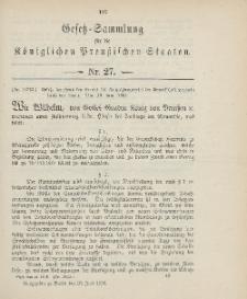 Gesetz-Sammlung für die Königlichen Preussischen Staaten, 25. Juni 1906, nr. 27.
