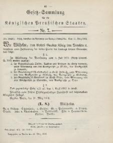Gesetz-Sammlung für die Königlichen Preussischen Staaten, 31. März 1903, nr. 7.