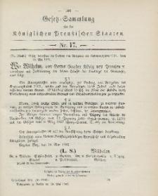 Gesetz-Sammlung für die Königlichen Preussischen Staaten, 30. Mai 1903, nr. 17.