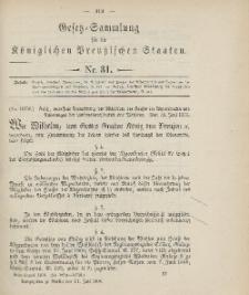 Gesetz-Sammlung für die Königlichen Preussischen Staaten, 11. Juli 1906, nr. 31.