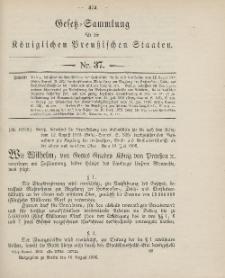 Gesetz-Sammlung für die Königlichen Preussischen Staaten, 16. August 1906, nr. 37.