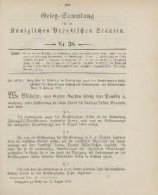 Gesetz-Sammlung für die Königlichen Preussischen Staaten, 31. August 1906, nr. 38.
