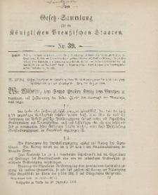 Gesetz-Sammlung für die Königlichen Preussischen Staaten, 21. September 1906, nr. 39.