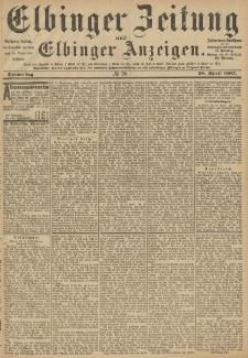 Elbinger Zeitung und Elbinger Anzeigen, Nr. 98 Donnerstag 28. April 1887