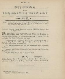 Gesetz-Sammlung für die Königlichen Preussischen Staaten, 22. Dezember 1906, nr. 47.