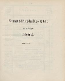 Gesetz-Sammlung für die Königlichen Preussischen Staaten, (Staatshaushalts-Etat für das Etatsjahr 1904)