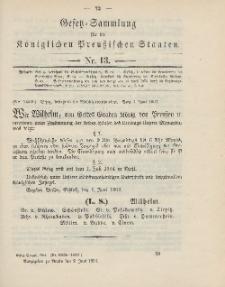 Gesetz-Sammlung für die Königlichen Preussischen Staaten, 9. Juni 1904, nr. 13.