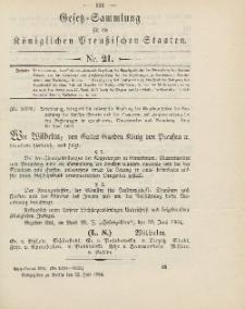 Gesetz-Sammlung für die Königlichen Preussischen Staaten, 22. Juli 1904, nr. 21.