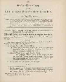 Gesetz-Sammlung für die Königlichen Preussischen Staaten, 3. August 1904, nr. 24.