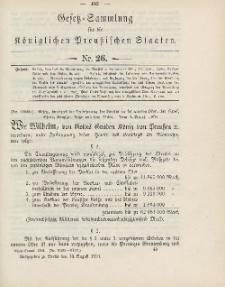 Gesetz-Sammlung für die Königlichen Preussischen Staaten, 13. August 1904, nr. 26.