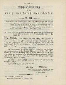 Gesetz-Sammlung für die Königlichen Preussischen Staaten, 26. September 1904, nr. 33.