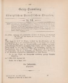 Gesetz-Sammlung für die Königlichen Preussischen Staaten, 14. April 1905, nr. 14.